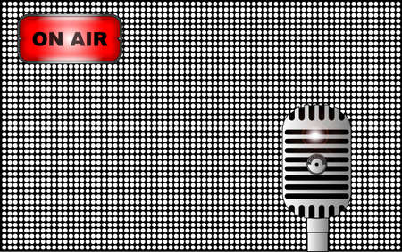half tone: A half tone background with radio on air sign and broadcast valve microphone