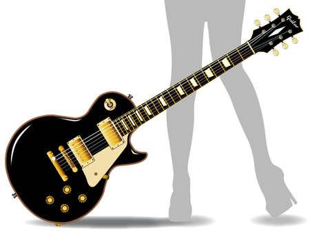 pickups: Il rock and roll chitarra definitivo in nero, isolato su uno sfondo bianco con un paio di gambe femminili sbiadita