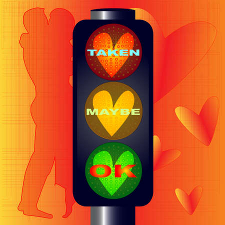 Traffic lights with hearts and taken maybe OK text over a lovers background
