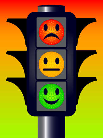 Traffic lights with three mood faces over a red green and amber Vectores