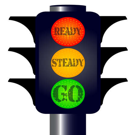 steady: Traffic lights with ready steady go text Illustration