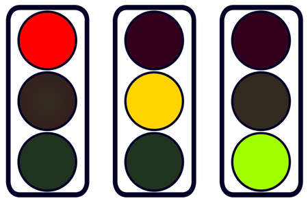 A set of traffic lights red amber and green over white