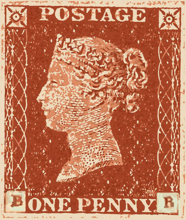 penny: A typical victorian penny red british stamp