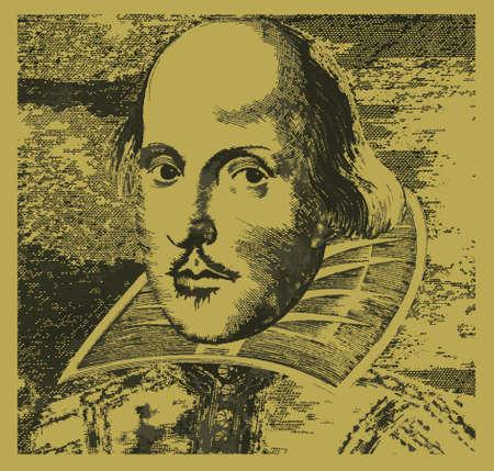 william shakespeare: A woodcut  type image of the British poet playwright William Shakespeare