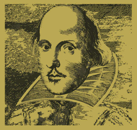 A woodcut  type image of the British poet playwright William Shakespeare