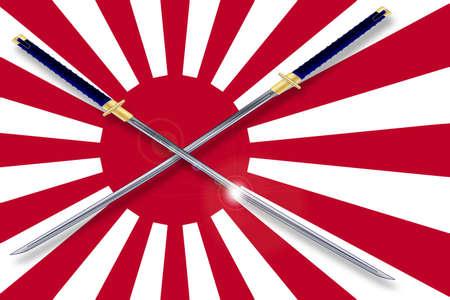bandera japon: El sol naciente bandera japonesa en rojo y blanco con dos espadas samurai cruzado Vectores