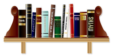 genre: A collection of books on a bookshelf each of a different genre Illustration