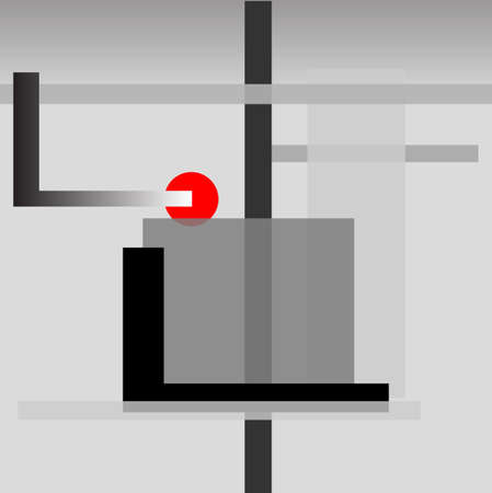 oblongs: An absrtract background in grey with a red object