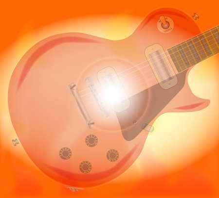 gibson: Rock guitar surrounded with flames