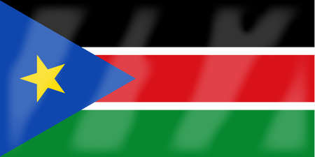 south african flag: The flag of the African country South Sudan Illustration