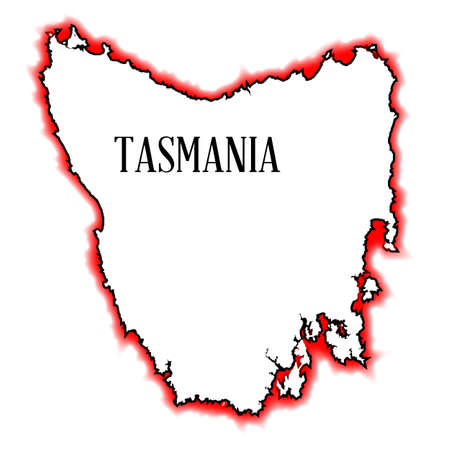 tasmania: An outline map of Tasmania in red and black