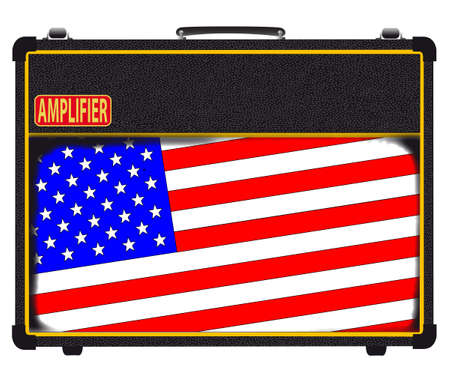inset: A classic rock and roll valve amplifier with a Stars and Stripes flag inset