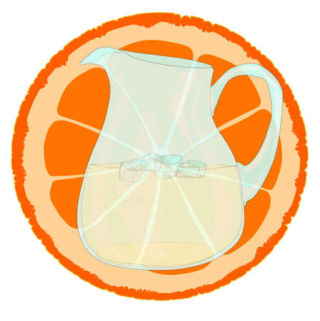 cordial: A pitcher of orangeade with a slice of orange and ice.