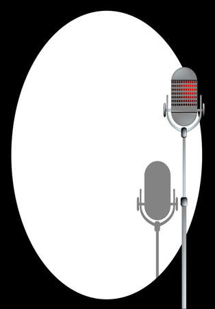 spotlit: A microphone ready on stage with spotlight and shadow