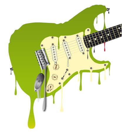 frets: Un tradicional fusi�n guitarra de rock abajo Vectores