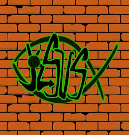 pez cristiano: Graffiti que representa a un cristiano de los pescados en una pared de ladrillo con la palabra Jes�s