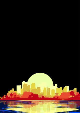 夜の空と反射、ウォーターズ エッジの都市。
