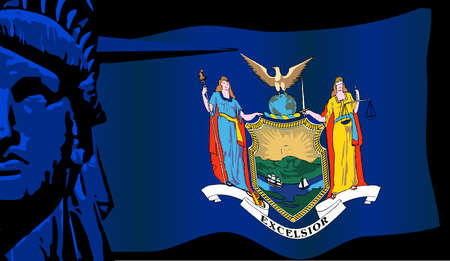 new york state: New York state flag with a closeup of the Statue of Liberty