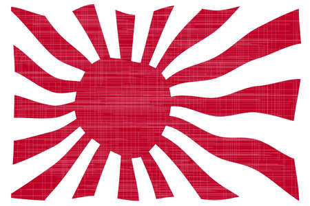 far east: The rising sun Japanese flag in red and white with grunge effect Illustration