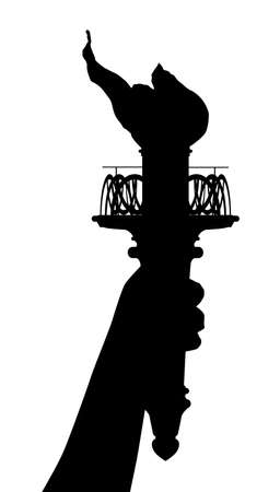 liberty torch: The statue of Liberty torch in silhouette
