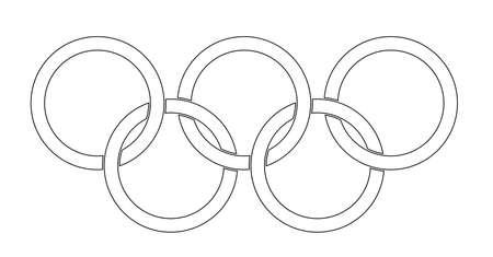 올림픽 스타일의 반지는 흰색 backrounds에 위에 설정