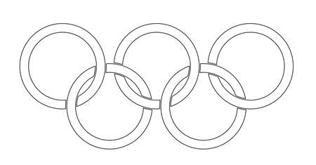olympic symbol: Olympic style rings set over a white backrounds