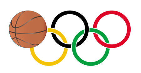 olympic ring: Olympic style rings with a basketball set over a white background