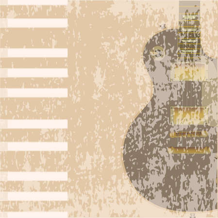 gibson: A guitar and piano beige background with plenty of copy space Illustration