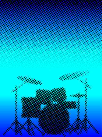 half tone: Silhouette of a rock bands drum kit in halftone set against a half tone blue dot background Illustration