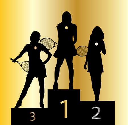 The ladies tennis champion medal winners in silhouette