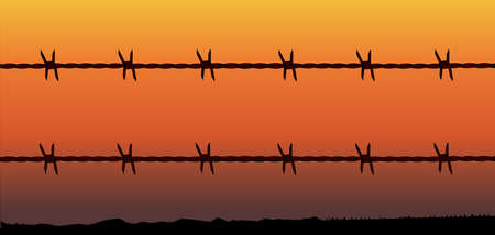 barren: A barbed wire fence with a barren desert sunset