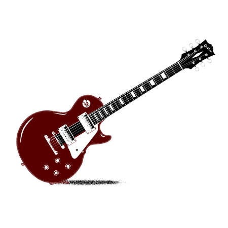 gibson: Drawing of a typical rock guitar over a white background