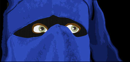 'one woman only': An Islamic lady with blue headwear.... Illustration