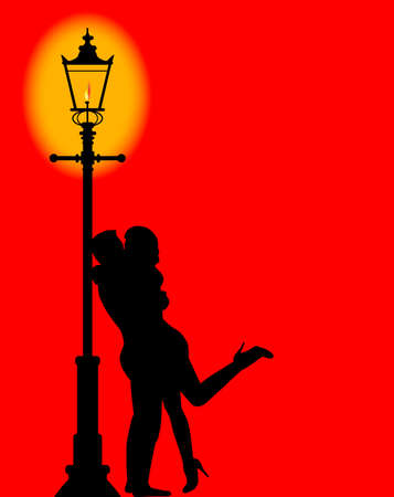 wet girl: A couple kissing under the light of a gaslit lamppost Illustration