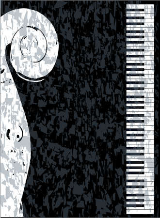 inset: Black and white piano keys set against a black background with a violin inset