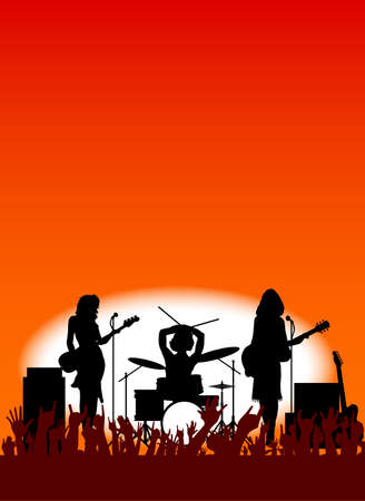 hi hat: Silhouette of a girl rock band with equipment on stage as a poster