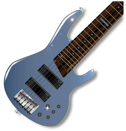 progressive: A generic six string wooden body bass guitar on white Illustration