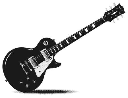 half tone: An electric guitar in half tone over a white background