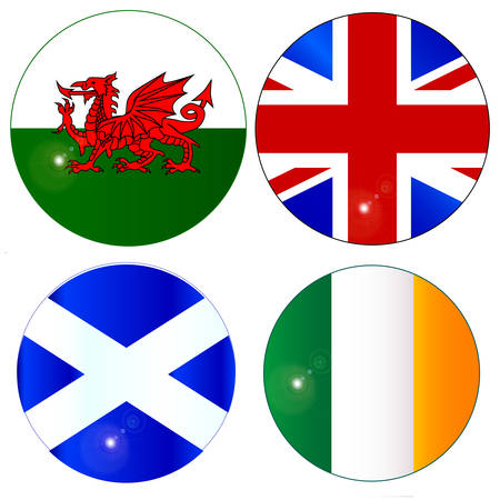 eire: The official flag for Scotland, Wales, Eire, Ireland and England as a button or badge over white