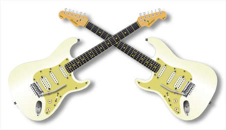 stratocaster: Two solid body electric guitar isolated over a white background one right and one left handed