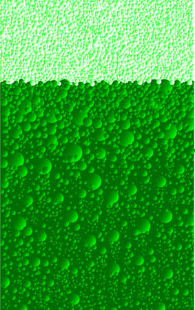 fizzy: Bubbles and froth on a green Saint Patricks Day fizzy drink.