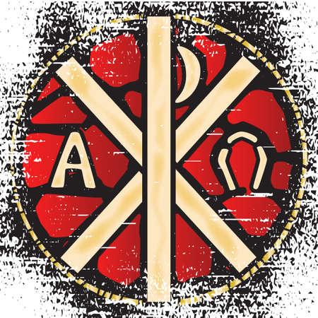 alphabet greek symbols: A grunge effect staine glass window depicting the Alpha Omegs stybols. Illustration
