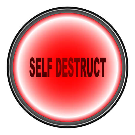 destruct: A Self Destruct Button in red over a white background