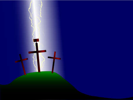 calvary: The three crosses with sign on Calvary with a background of lightning bolts Illustration