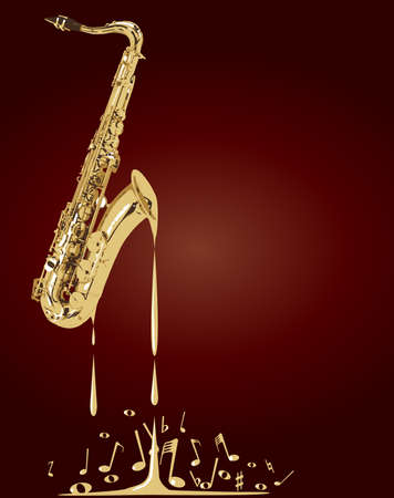 A saxophone melting into musical notes over a red background