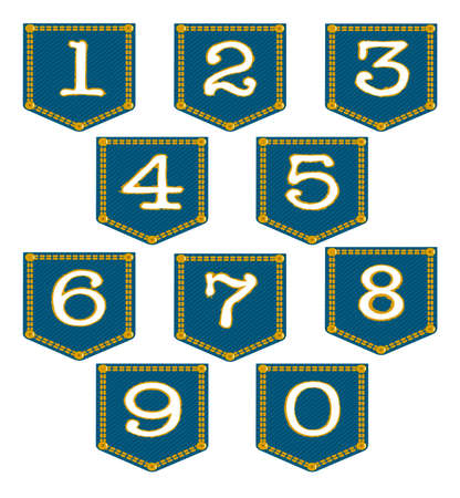 sewn: Numbers 0 to 9 sewn into denim pockets over a white background