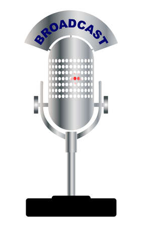 warming up: An old broadcast microphone with an indication thet the valve is warming up over a white background