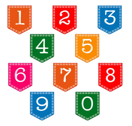 pockets: Numbers on pockets over a white background