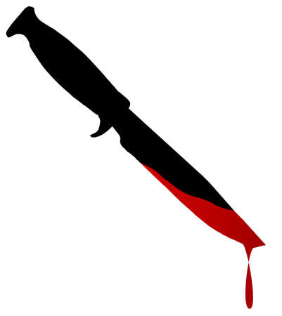 half blooded: Silhouette of a bowie knife with blood over white
