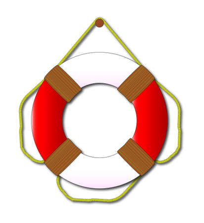 floats: A typical lifebelt isolated on a white background